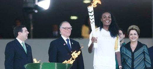 Chegada da chama olímpica no Brasil