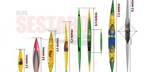 Alguns tipos de embarcações a remo, usadas no Brasil