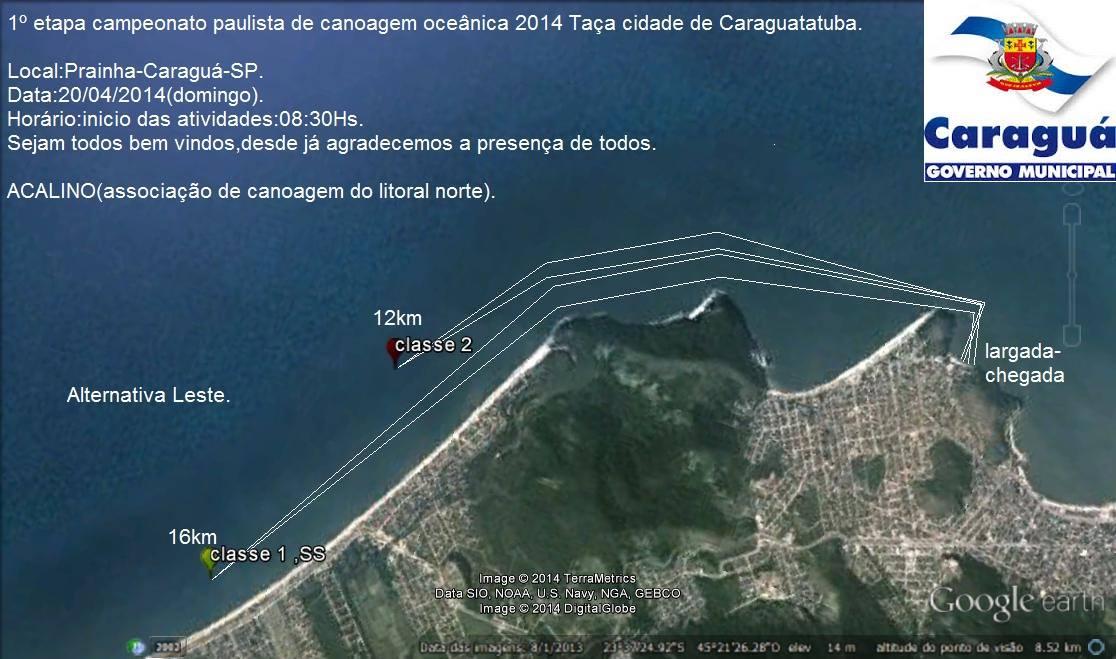 Mapa do percurso da 1ª etapa do Campeonato Paulista 2014 - Alternativa Leste