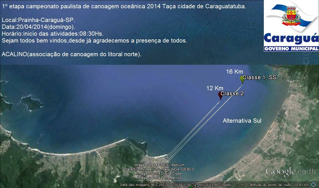 Mapa do percurso da 1ª etapa do Campeonato Paulista 2014 - Alternativa Sul