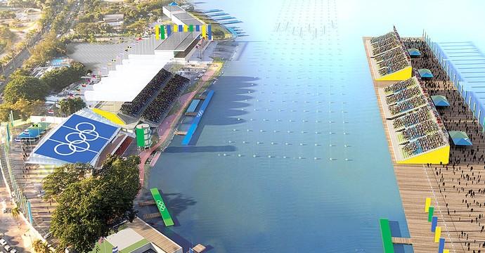 Perspectiva do Estádio de Remo na Lagoa Rodrigo de Freitas, usada no dossiê de candidatura (Foto: Divulgação)