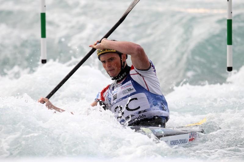 Bradley Forbes-Cryans, da Grã Bretanha, conquistou uma vaga para o seu país na K1 masculina (Foto: Harru Hubbard/Getty Images)