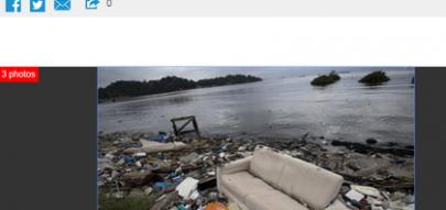 Entrevista Peter Sowery, ex-diretor Federação Internacional de Iatismo ilustrada com imagens de poluição (Reprodução/Internet)